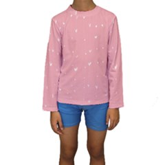 Pink background with white hearts on lines Kids  Long Sleeve Swimwear
