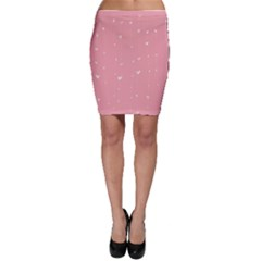 Pink background with white hearts on lines Bodycon Skirt