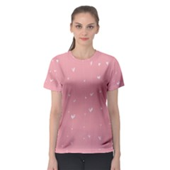 Pink background with white hearts on lines Women s Sport Mesh Tee
