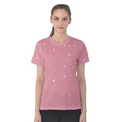 Pink background with white hearts on lines Women s Cotton Tee