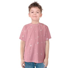 Pink background with white hearts on lines Kids  Cotton Tee