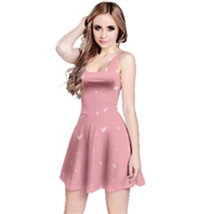 Pink background with white hearts on lines Reversible Sleeveless Dress