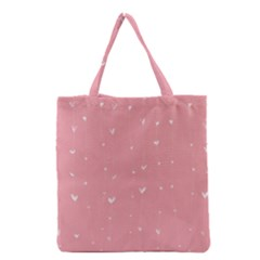 Pink background with white hearts on lines Grocery Tote Bag