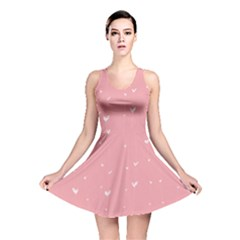 Pink background with white hearts on lines Reversible Skater Dress