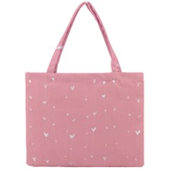 Pink background with white hearts on lines Mini Tote Bag