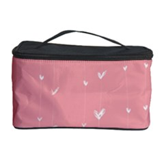 Pink background with white hearts on lines Cosmetic Storage Case