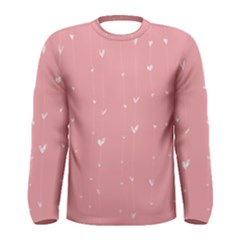 Pink background with white hearts on lines Men s Long Sleeve Tee