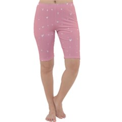 Pink background with white hearts on lines Cropped Leggings