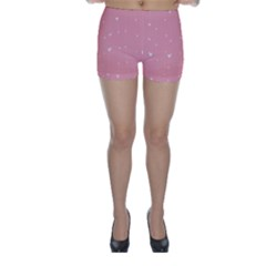 Pink background with white hearts on lines Skinny Shorts