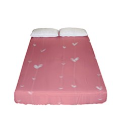 Pink background with white hearts on lines Fitted Sheet (Full/ Double Size)