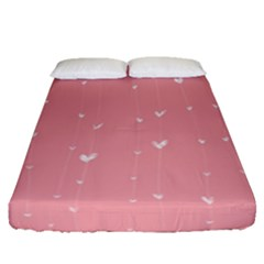 Pink background with white hearts on lines Fitted Sheet (Queen Size)
