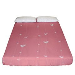 Pink background with white hearts on lines Fitted Sheet (King Size)