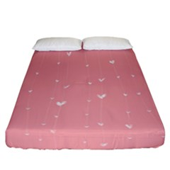 Pink background with white hearts on lines Fitted Sheet (California King Size)