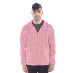 Pink background with white hearts on lines Hooded Wind Breaker (Men)