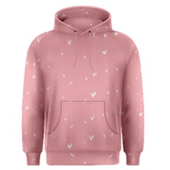 Pink background with white hearts on lines Men s Pullover Hoodie