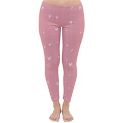 Pink background with white hearts on lines Classic Winter Leggings