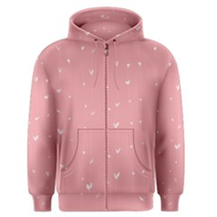 Pink background with white hearts on lines Men s Zipper Hoodie