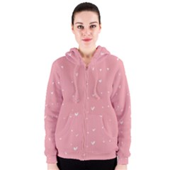 Pink background with white hearts on lines Women s Zipper Hoodie