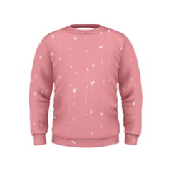 Pink background with white hearts on lines Kids  Sweatshirt
