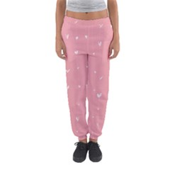 Pink background with white hearts on lines Women s Jogger Sweatpants
