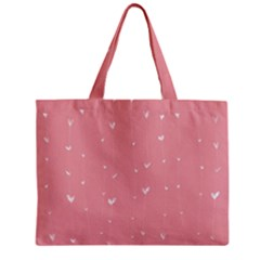 Pink background with white hearts on lines Zipper Mini Tote Bag