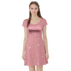 Pink background with white hearts on lines Short Sleeve Skater Dress