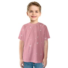 Pink background with white hearts on lines Kids  Sport Mesh Tee