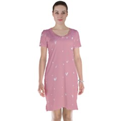 Pink background with white hearts on lines Short Sleeve Nightdress