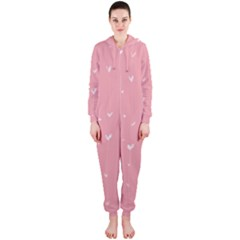 Pink background with white hearts on lines Hooded Jumpsuit (Ladies)