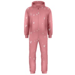 Pink background with white hearts on lines Hooded Jumpsuit (Men)