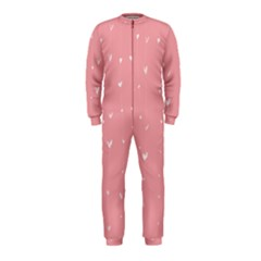 Pink background with white hearts on lines OnePiece Jumpsuit (Kids)