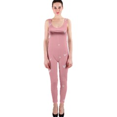 Pink background with white hearts on lines OnePiece Catsuit