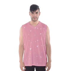 Pink background with white hearts on lines Men s Basketball Tank Top