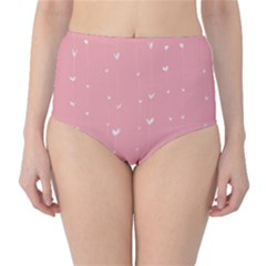 Pink background with white hearts on lines High-Waist Bikini Bottoms