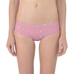 Pink background with white hearts on lines Classic Bikini Bottoms