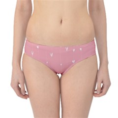 Pink background with white hearts on lines Hipster Bikini Bottoms