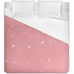 Pink background with white hearts on lines Duvet Cover (King Size)