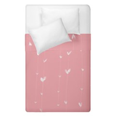 Pink background with white hearts on lines Duvet Cover Double Side (Single Size)