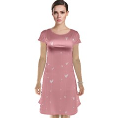 Pink background with white hearts on lines Cap Sleeve Nightdress
