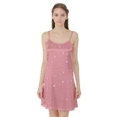 Pink background with white hearts on lines Satin Night Slip