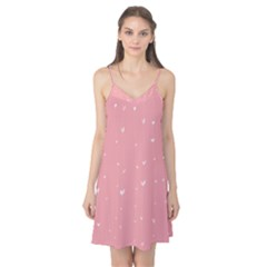 Pink background with white hearts on lines Camis Nightgown