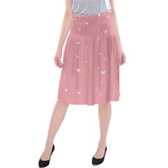 Pink background with white hearts on lines Midi Beach Skirt