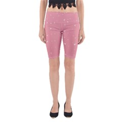 Pink background with white hearts on lines Yoga Cropped Leggings
