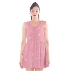 Pink background with white hearts on lines Scoop Neck Skater Dress