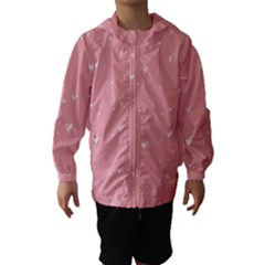 Pink background with white hearts on lines Hooded Wind Breaker (Kids)