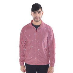 Pink background with white hearts on lines Wind Breaker (Men)