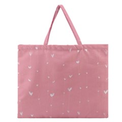 Pink background with white hearts on lines Zipper Large Tote Bag