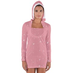 Pink background with white hearts on lines Women s Long Sleeve Hooded T-shirt