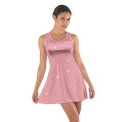 Pink background with white hearts on lines Cotton Racerback Dress