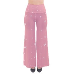 Pink background with white hearts on lines Pants